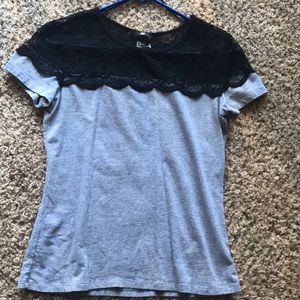 H&M grey and black lace shirt